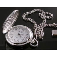 Smooth SILVER Pocket Watch CLASSIC White Dial - 45mm