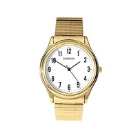Large Stretch Band Gold Watch Easy to Read Clear Numbers
