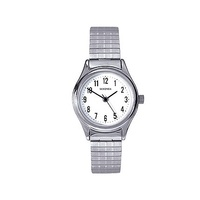 Ladies Silver Watch Stretch Band with Clear White Dial by Sekonda
