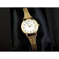 Ladies Gold Stretch Band Watch Mother of Pearl Dial