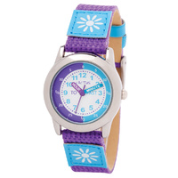 Girls Watch Teaching Dial with Purple and Blue Band with Flower