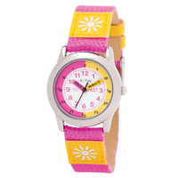 Girls Watch Teaching Dial with Pink and Yellow Band with Flower