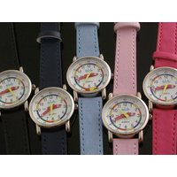 Teaching Dial Kids Watch with PU Mock Leather Band