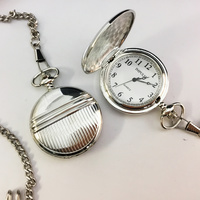 Pocket Watch Stripe Silver Chrome Case Classic White Dial