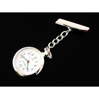 Large Silver Nurses Lapel Watch on Chain