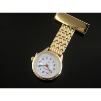 Nurses Lapel Watch GOLD MESH