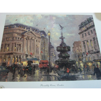 Thomas Kinkade Limited PRINT 247/335 PICCADILLY CIRCUS London Size 23cmx30.5cm