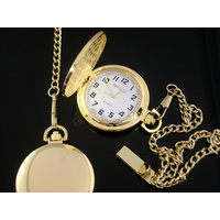 Smooth GOLD Pocket Watch WHITE Dial Big Numbers Easy to Read