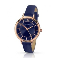 Ladies Rose Gold Watch with Navy Dark Blue Band and Sunray Dial