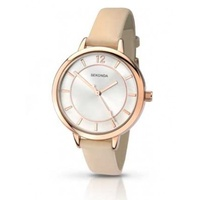 Ladies Rose Gold Watch with Cream/Nude Band and Silver Sunray Dial