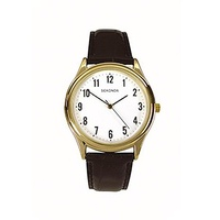 Mens Gold Watch Black Leather Band Large No's Easy to Read