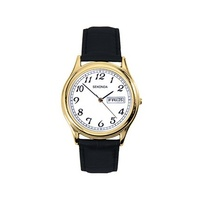 Mens Gold Watch Big Numbers Day Date WR30m