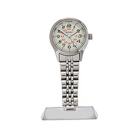 Nurses Lapel Watch Silver with Luminous Dial