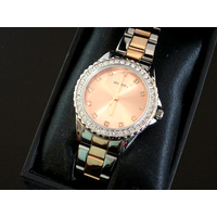 Ladies Temptations Rose Gold and Silver Watch CZ Dial