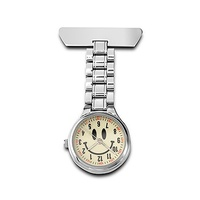 Nurses Lapel Watch Silver with Smiley Face Dial