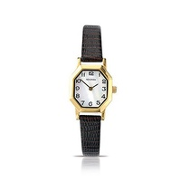 Ladies Watch Gold Numbers Thin Brown Leather Band
