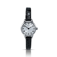 Small Ladies Silver Watch with Thin Black Leather Band