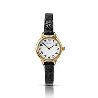 Ladies Watch Thin Black Leather Band Gold Case WR 30Mtrs