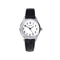 Ladies Silver Watch Black Leather Band Clear Dial Big No's WR50m