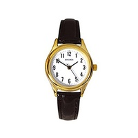 Ladies Gold Watch Big Numbers Black Leather Band WR 30Mtrs