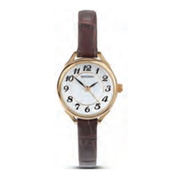 Ladies Watch Gold Thin Brown Leather Band