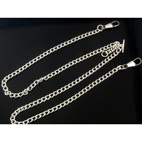 Double Albert Pocket Watch Chains in Gold Silver Black
