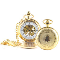 Mechanical Pocket FOB Watch Gold in Timber Box
