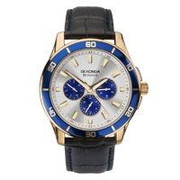 Sekonda Men's Classic Multi-Function Watch with Silver/Blue Dial and Black Band Strap