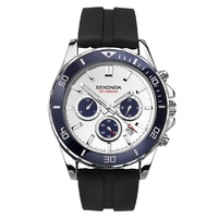 Mens Dual-Time Sports Watch Silver & Navy Case with White Dial and Black Band Strap Watch