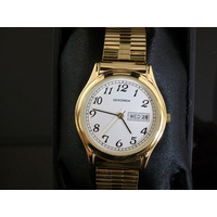 Large Gold Watch with Date Stretch Band - Large Numbers
