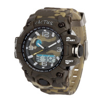 Green Camo Boys Watch - Tough DUEL Time Digital Analogue