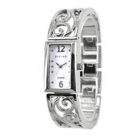 Ladies Silver Bangle Watch