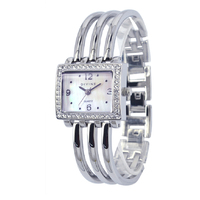 Ladies CZ Square Silver 3 Row Bangle Watch