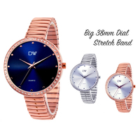 Ladies CZ BIG DIAL 38mm Stretch Band Watch - Colour Options