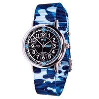 Blue Camo Kids Watch Black Teaching Dial PAST/TO