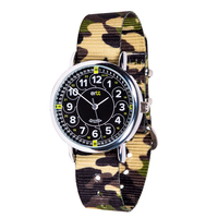 Green Camo Kids Watch Black Teaching Dial 12/24hr