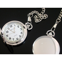 Smooth SILVER Pocket Watch WHITE Dial Big Numbers Easy to Read