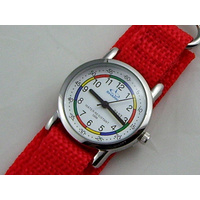 Kids Teaching Watch Water Resistant - Red Velcro Band