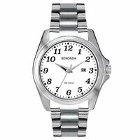 Mens Chrome Case White Dial SS Water Resistant 100m