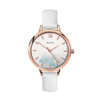 Ladies Watch Rose Gold Case with Blue Floral Dial with White Strap