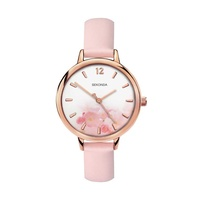 Ladies Rose Gold Watch with Pink Floral Dial and Pink Band