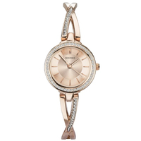 Ladies Dress Watch CZ Dial Rose Gold Bracelet Metal Link Band