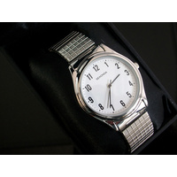 Large Silver Stretch Band Watch Water Resistant 30meters