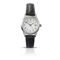 Ladies Silver Watch Black Leather Band with Date
